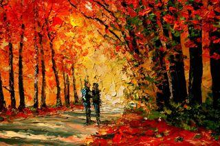 Landscape Autumn Trees Path Leaves Knife Original Art Oil Painting