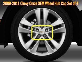 2009 2010 2011 Chevy Cruze Lacetti Premiere OEM Wheel Hub Caps Set of