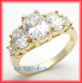 75 Carats Wedding CZ Yellow Gold Plated 14k GP Ring Size 4 5 6 7 8 9