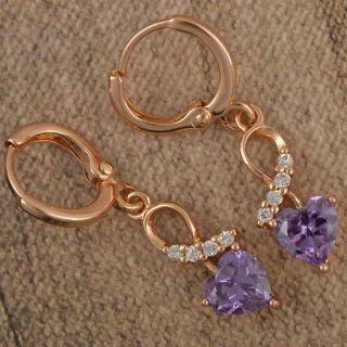 Lovely 9K Rose Gold Filled CZ Womens Dangle Earrings E853