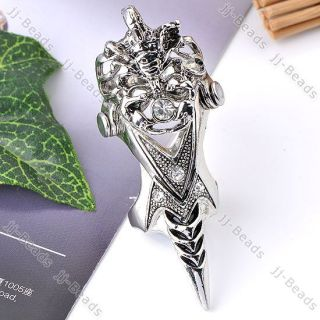 1x Crystal Knight Armour Scorpion Long Full Finger Knuckle Ring Gothic