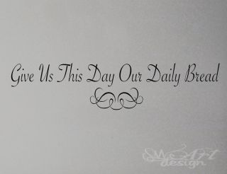 Our Daily Bread Ornement Wall Decal Lettering Quote Prayer Art
