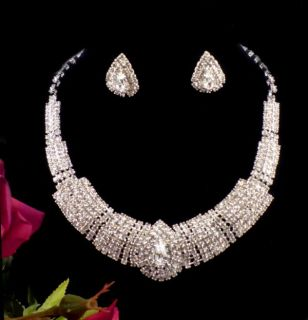 Wedding Bridal Crystal Necklace Earrings Set Silver Bridalmaid