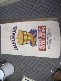 Dahlman Seed co Dassel Mn Meeker county HYBRID SEED CORN cloth BAG