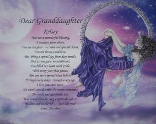 Granddaughter Personalized Poem Birthday Graduation or Christmas Gift