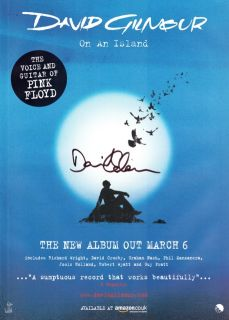 David Gilmour on An Island Signed Autographed Poster CD Shirt DVD Pink