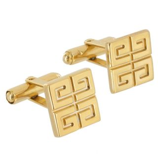 Givenchy Cufflinks Mens Jewelry Square Gold Plated Cuff Links