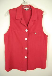 David Dart Red Sleeveless Linen Vest Top Blouse Jacket V Neck Collar s