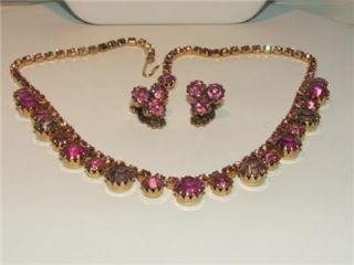 Vintage pink and lavender rhinestone necklace and earrings, dog tooth