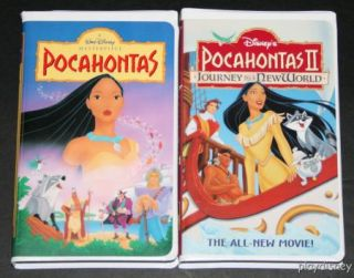 Disney Pocahontas I II VHS Set Lot Journey to A New World