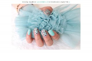 Nail Wrap Sticker  Leopard Mint   nail art / self nail womens