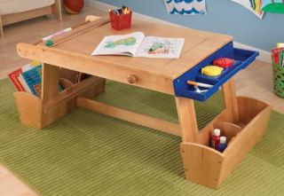 Childrens Art And Crafts Table With Drying Rack And Storage Kids Fun