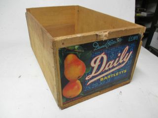 Wooden Fruit Crate Box Daily Brand Bartletts Pears CA David J Eliot