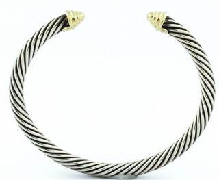 David Yurman 925 Sterling Silver 14k Yellow Gold Cuff Bracelet