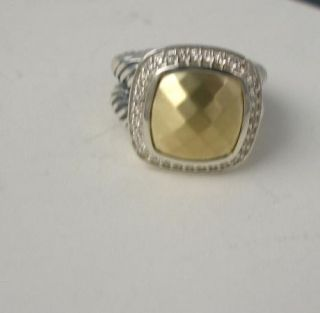 David Yurman 11mm Albion pave Gold Faceted Diamond Ring Size 6