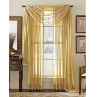 HLC.ME   4 PCS. of Gold Sheer Curtains Window Treatment Panel