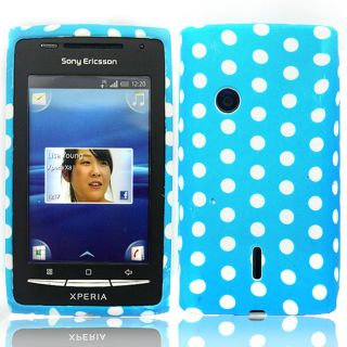For Sony Ericsson Xperia x8 Rubber Blue Gel Soft Polka Dots Case Cover
