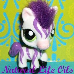 Littlest Pet Shop 2470 Cutest Purple White Zebra w Hair Mane K670 LPS