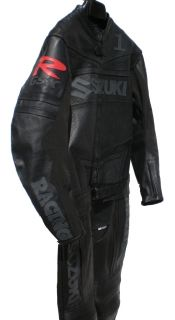 Black Custom Punisher Suzuki Motorcycle Racing Suit Leather 2pc New