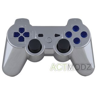 Chrome Silver Custom Housing Shell for PS3 Controller with Blue