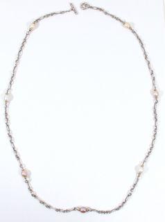 DAVID YURMAN Sterling Silver & 18K Gold Figaro Chain PEARL NECKLACE 36