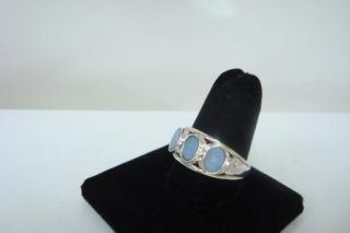 Sterling Silver 925 Band Ring with 3 Oval Shape Blue Opal Color Stones