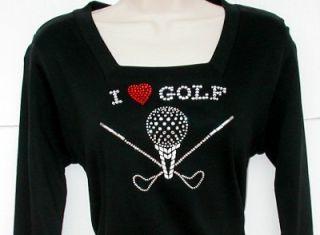 Rhinestone Embellished Tee Shirt I Love Golf