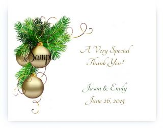 Personalized Custom Gold Christmas Bulb Wedding Bridal Thank You Cards