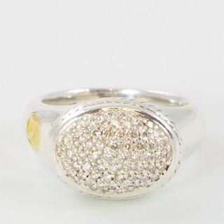 David Yurman Sterling Silver & 18K Yellow Gold Pave Diamond Signature