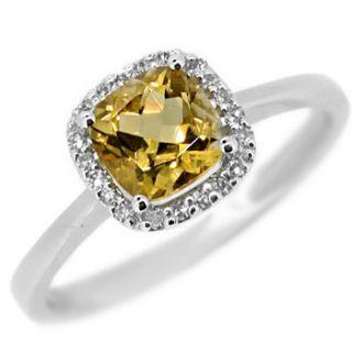 NATURAL VVS CUSHION CUT YELLOW CITRINE & DIAMOND ENGAGEMENT RING 14K