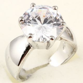 Large Round Cut White Sapphire A074 Ring