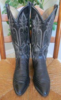 Dan Post Womens Size 8M Black Lizard Skin Leather Cowboy Western