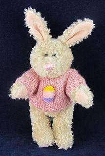 1988 Tan Playful Plush Bunny Rabbit Pink Sweater Stuffed Animal
