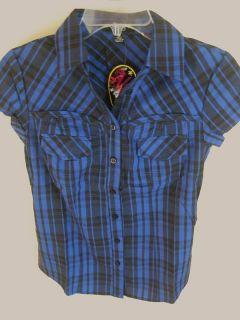 Abbey Dawn Avril Lavigne Lace Up Plaid Shirt s M L XL