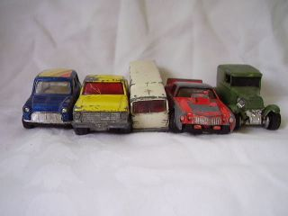 Lot 5 Vintage Various Cars Trucks Hot Wheels Matchbox Die Cast