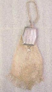 Antique Whiting Davis Silver Mesh Bag with Compact Mirror