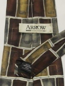 Arrow Mens Designer Neck Tie Silk Geometric Burgundy Gold Gray White