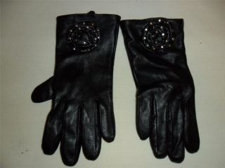 Cynthia Rowley Womens Black Leather Gloves w Studded Rose Detailing Sz