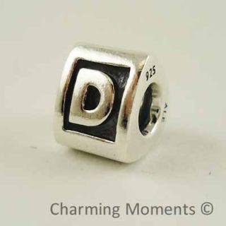 New Authentic Pandora Silver Charm Letter D 790323D Bead