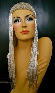 Silver Drag Queen Bead Gay Cabaret Fancy Cher Bead Wig