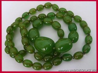 Very Rare and LARGE Antique Green Amber butterscotch bakelite necklace