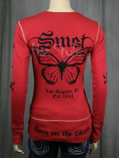 SMET Audigier Womens Red Butterfly Thermal Shirt