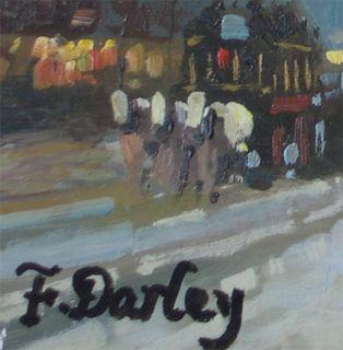 Darley 1949s Paris Street Scene Original Oil Painting Wood Frame