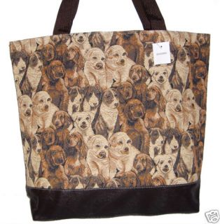 Dog Puppy Tote Bag Duffle Carryon Tapestry Print