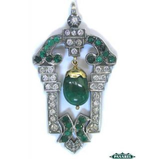 Art Deco 14k White Gold Diamond Emerald Pendant CA 1930