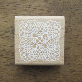 Decorative Stamps Rubber Stamp White Square Lace