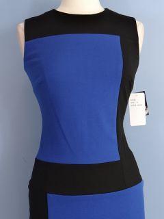 New Sandra Darren Sleeveless Stretch Knit Color Sheath Dress Blue