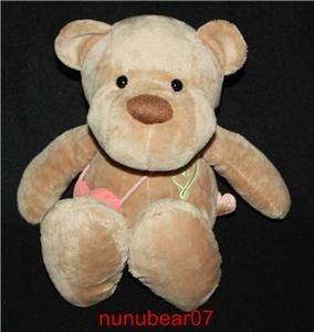 debbi soft brown tan lovey plush bear heart 10 in