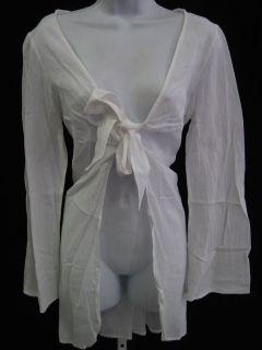 Debbie Katz South Beach White Long Sleeve Cover Up Sz M