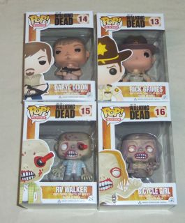 WALKING DEAD POP VINYL SET 4 FIGURES RICK GRIMES DARYL DIXON 2 ZOMBIE